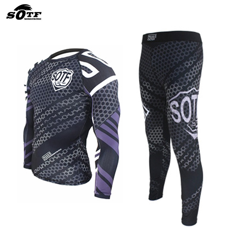 Men Muay Thai MMA Fightwear Boxing Set Compression Jersey Pants Hexagon Print Rashguard KickBoxing Tight Long T-Shirt Trousers