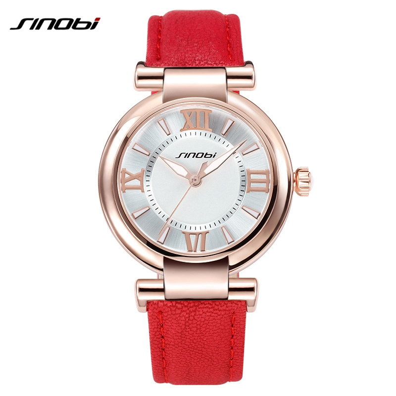 SINOBI Women Watch 2016 Brand Womans Luxury Watches Leather Strap Fashion Quartz-Watch Ladies Golden Wristwatch Relogio Feminino подростковые аксессуары