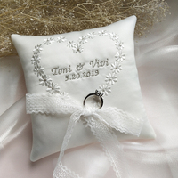 Customized Embroidered word Ring Pillow Name wedding date Bridal Ring Pillows Party Decoration Cushion Valentine Day Festive
