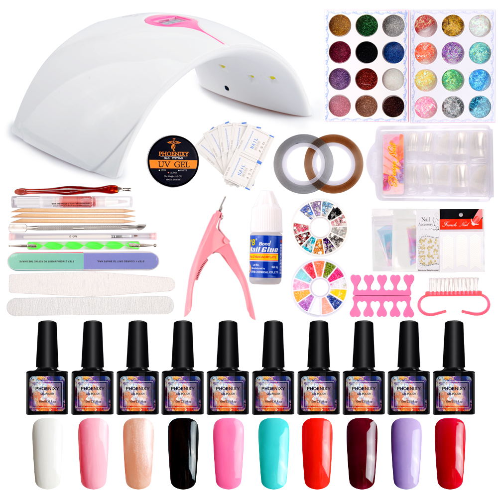 Uv Gel Polish Manicure set Pro Nail Art Tools Set 36W Nature Led Lamp UV Nail Dryer Kits 4 Colors Gel DIY Nail Design Manicure 12 pots beauty flower design sequin 12 colors nail glitter for uv gel tips nail art decorations manicure diy accessories