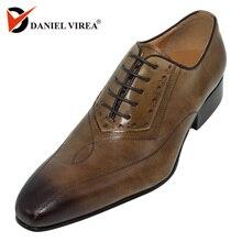 Mężczyźni ubierają buty ślubne klasyczne Khaki kawy kolor luksusowa marka biuro formalne szpiczasty nosek stałe Oxford prawdziwej skóry mężczyzna buta