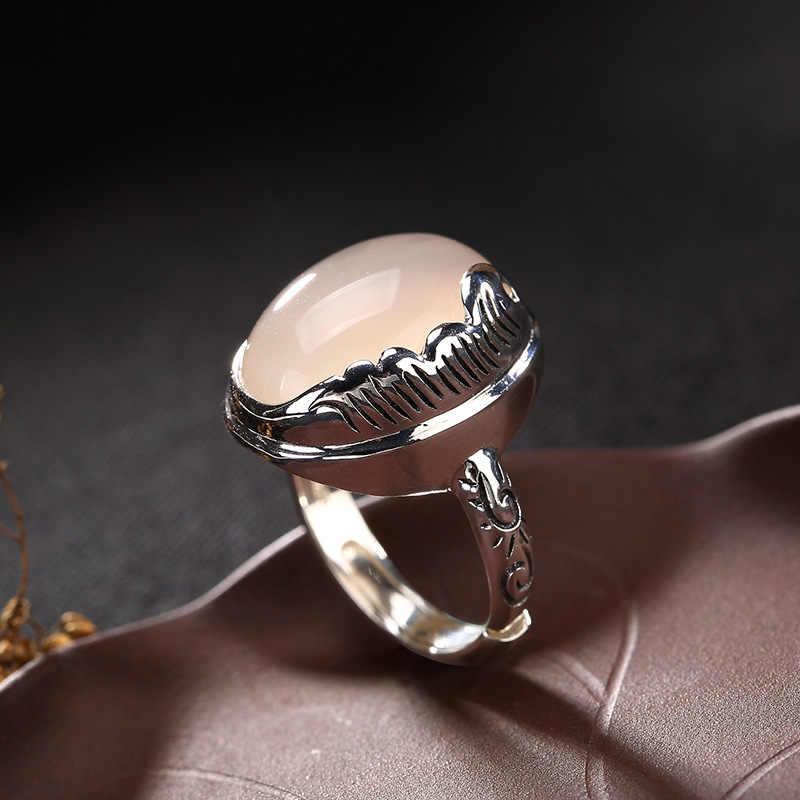 2018ขายร้อนAnel Feminino S925สเตอร์ลิงขนโมเสคหยก,ทับทิมคอรันดัมทรายหญิงระดับไฮเอนด์เปิดแหวนขายส่ง