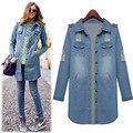 Осень европейский стиль женщины разрез длинный рукав деним куртки джинсы пальто 5861
