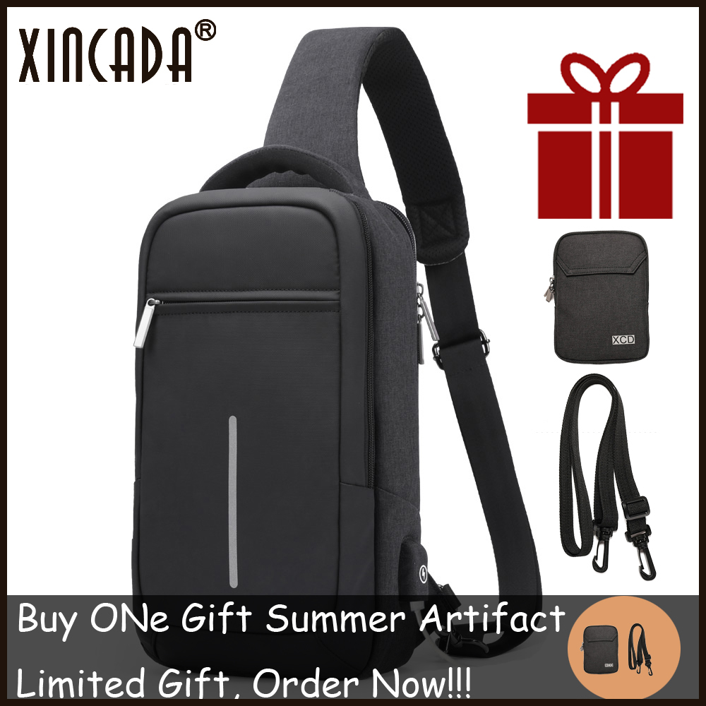 XINCADA Summer Technology Crossbody Bag Men Backpack Chest Pack Short Trip Sac Sling Anti theft Bag