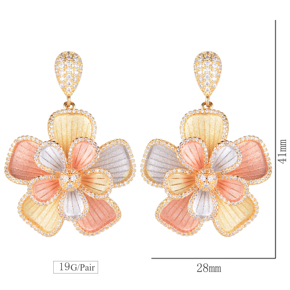 Missvikki Design Original grand pendentif fleur bijoux fins ensembles cristal brillant Vintage sculpté pour cadeau de fiançailles petite amie - 6