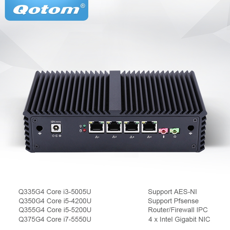 Qotom 미니 Pc 코어 I3 I5 I7 4 기가비트 이더넷 Nic AES-NI 방화벽 라우터 마이크로 산업용 컴퓨터 Q300g4