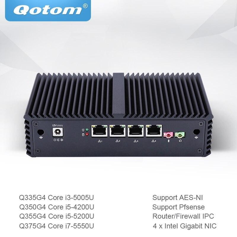 Qotom Mini-pc Core i3 i5 i7 com 4 Pfsense Gigabit Ethernet NIC AES-NI Fiewwall Máquina Router Micro Computador Industrial q300G4