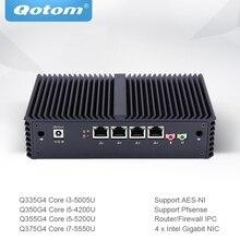 Qotom 미니 PC 코어 i3 i5 i7 4 기가비트 이더넷 NIC AES NI 방화벽 라우터 마이크로 산업용 컴퓨터 Q300G4