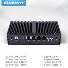 Qotom كمبيوتر مصغر كور i3 i5 i7 مع 4 جيجابت إيثرنت نيك AES NI جدار الحماية راوتر مايكرو الصناعية الكمبيوتر Q300G4
