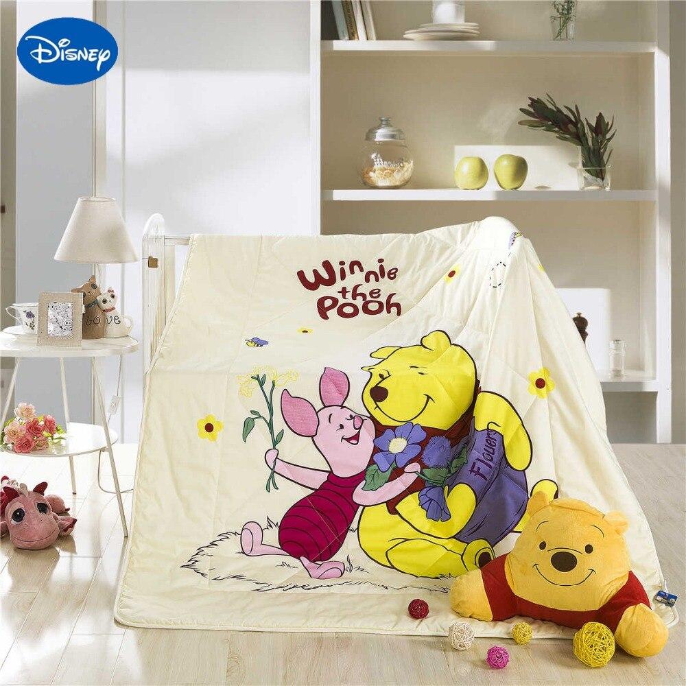 Baby bed quilt size - Disney Cartoon Winnie The Pooh Piglet Summer Quilt Comforter Baby Bed Bedspread Cotton Bedding Single Twin Queen Size Soft Beige