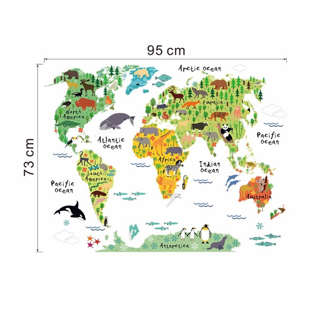 Aliexpress buy murals world map country cartoon typical murals world map country cartoon typical animals jungle removable nursery wall art decor gumiabroncs Images