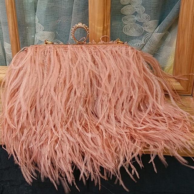 Designer Women Fur Bags Famous Brand Women Clutches Ladies Evening Clutch Purse Fashion  Hand Bag ostrich feather Clutch XA567B