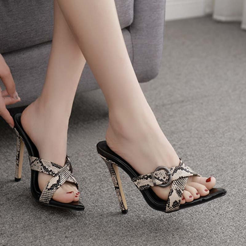 <font><b>Sex</b></font> Leopard grain Sandals Stiletto <font><b>Shoes</b></font> Summer <font><b>Woman</b></font> <font><b>Slipper</b></font> Sandal <font><b>Woman</b></font> Thin <font><b>Heels</b></font> Buckles Pointed Toe Ladies Summer <font><b>Shoes</b></font> image