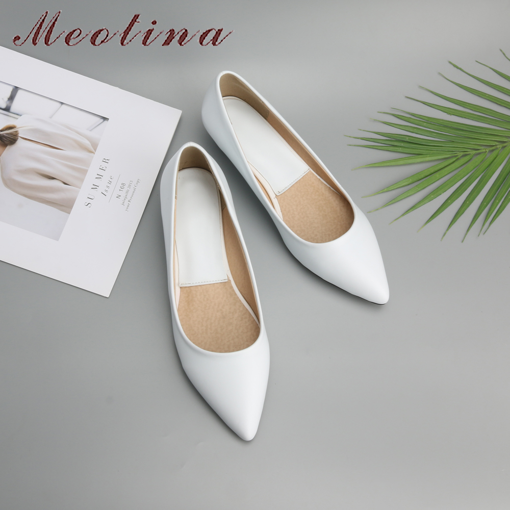 Meotina Spring Women Shoes 2018 Comfort Casual Shoes Pumps Low Heels Black Ladies Wedges Shoes White Green Plus Size 9 10 41 43