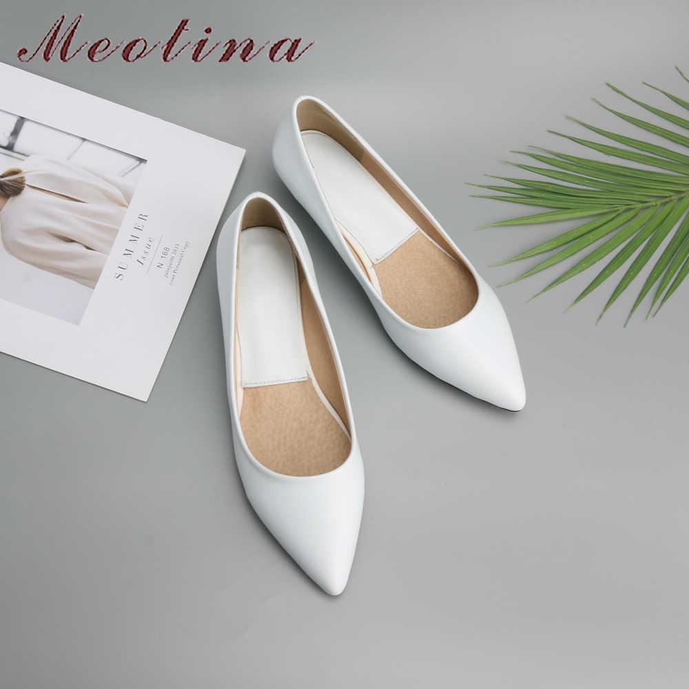 Meotina bahar kadın ayakkabı 2019 konfor rahat ayakkabılar pompaları düşük topuklu siyah bayanlar takozlar ayakkabı beyaz yeşil artı boyutu 9 10 41 43