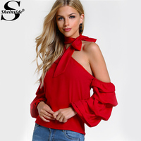 Sheinside Red Self Tie Choker Sexy Tops Asymmetric One Shoulder Blouse 2017 Women Summer Tops Bishop Sleeve Sweet Layered Blouse