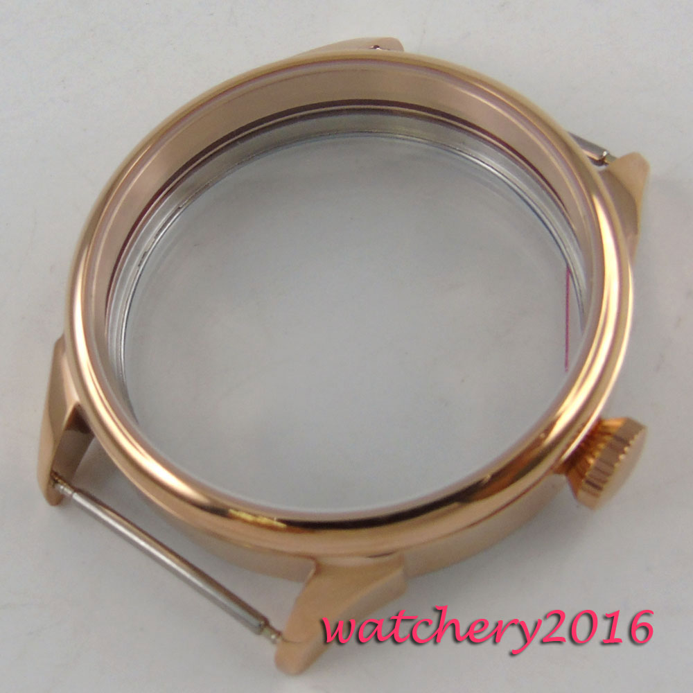 42mm Watch 316L stainless steel polished Bezel Rose Golden plated CASE fit eat 6498 6497 Movement hardened Watch Cases все цены