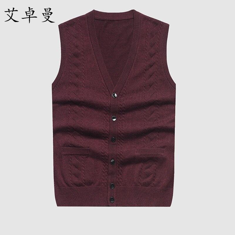 Herren Weste Pullover Casual Style Wolle Strick Einreiher Männer Strickjacke Weste Lose Größen Top Qualität