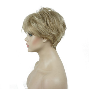 Image 4 - Strong beauty perruque Hai synthétique courte et lisse pour femmes, sans fil, perruque Blonde/noire, 11 couleurs