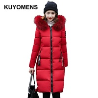 KUYOMENS 2017 Winter Coat Women Parka Long Thick Warm Cotton Jacket Large Fur Collar Hooded Warm