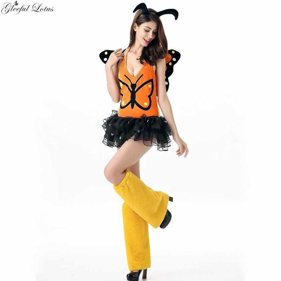 Disfraz de hada elfo mariposa Cosplay disfraz mujeres adultos Halloween carnaval uniforme escenario espectáculo traje bodysuit falda ala Anime