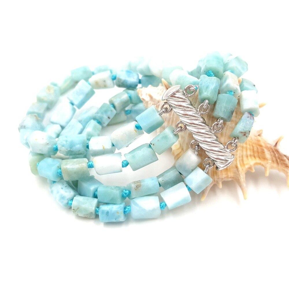 Lii Ji Unique pierre naturelle bleu Larimar sans Tube forme 4 rangées aimant fermoir Bracelet Approx18-19cm/7.25''