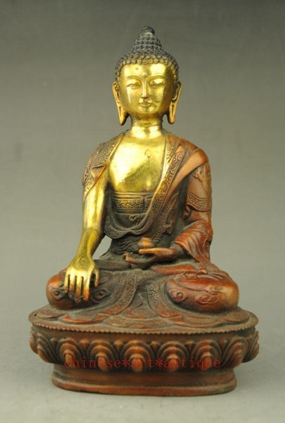 Tibet Ottone Tempio Buddista Shakyamuni Joss Sakyamuni Buddha Statue Bowl-in Statue e sculture da Casa e giardino su  Gruppo 1