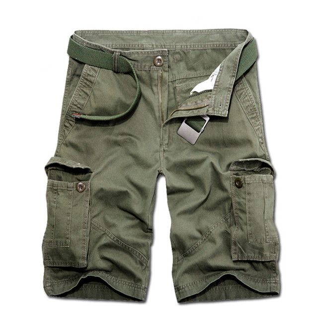 New Arrival Summer Cotton Men Casual Shorts Pocket Knee-Length Camouflage Army-Green Black Gray Zipper Male Jogger Trousers