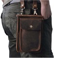 2016 New Top Quality Genuine Real Leather men vintage Brown Small Belt Messenger Bag Waist Pack Drop Bag 021