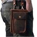 2016 Novos de Alta Qualidade Genuína homens De Couro Reais do vintage Marrom Pequeno Cinto Saco Do Mensageiro Pacote de Cintura Saco Queda 021