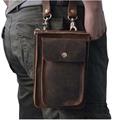 2016 Nuevo Mejor Calidad de Cuero Verdadero Genuino de los hombres de la vendimia Marrón Pequeño Cinturón Bolsa de Mensajero Paquete de La Cintura Bolsa de Gota 021