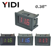 цена на 0.36'' DC 0-100V mini LED Digital Voltmeter Red Green Blue LED voltage DC 2.3-30V Reading calibrate meter 2 3 cable