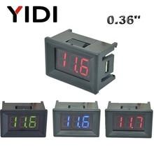 0.36'' DC 0-100V mini LED Digital Voltmeter Red Green Blue LED voltage DC 2.3-30V Reading calibrate meter 2 3 cable