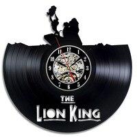 الحائط لطيف الكرتون الأسد الملك موضوع cd سجل الفينيل سجل نمط اليدوية ديكور المنزل ساعة الحائط العتيقة