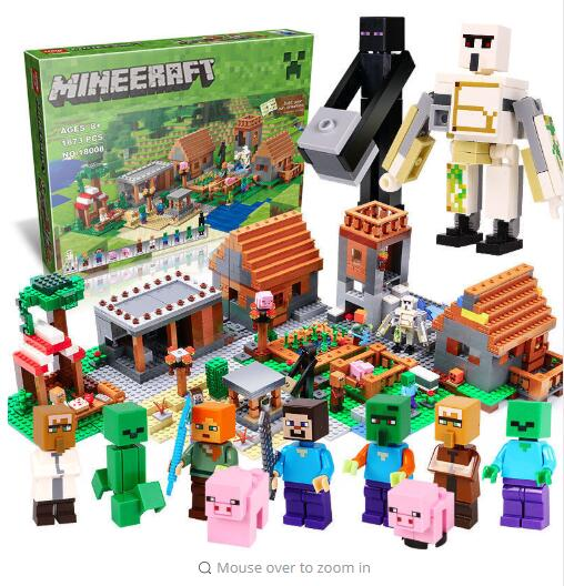 1673pcs 18008 Model building kits compatible with lego 21128 my worlds MineCraft Village 3D bricks toys hobbies for children 18003 model building kits compatible my worlds minecraft the jungle 116 tree house model building toys hobbies for children