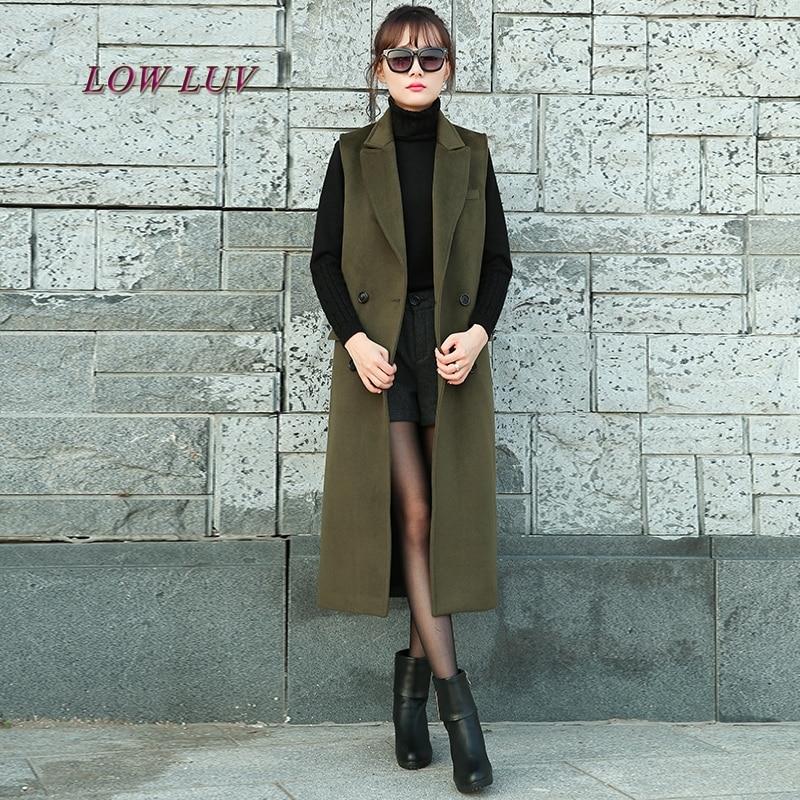 S M L XL XXL 2017 nuova primavera Coreana grande maglia sottile della vita cappotto lungo maglia femminile doppio petto tasche gilet