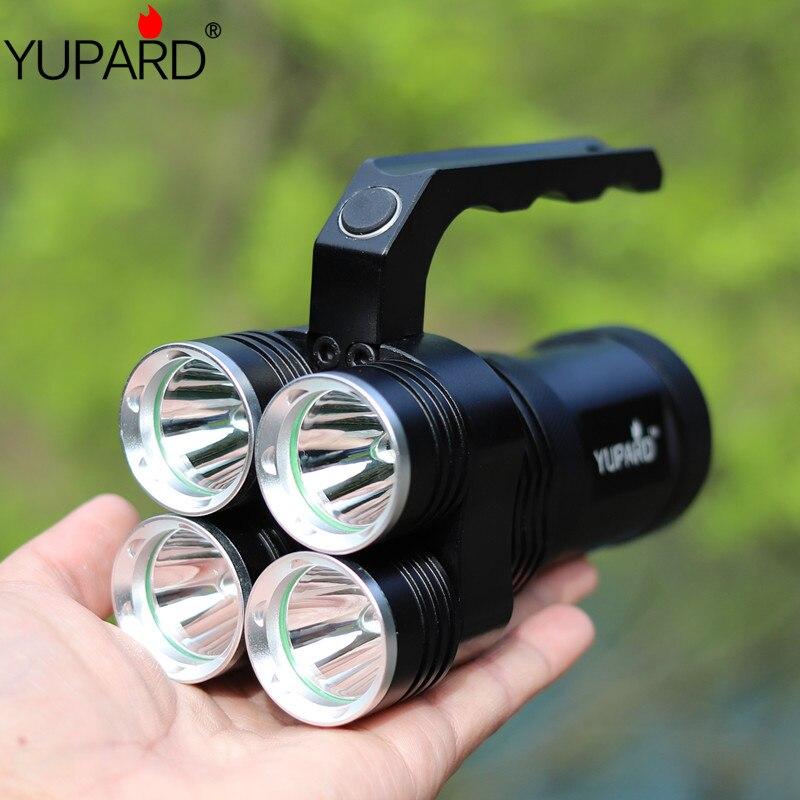YUPARD 4 * XM-L2 T6 led lampe de Poche Projecteur Projecteur Torche lumineuse 18650 rechargeable batterie tactique camping chasse