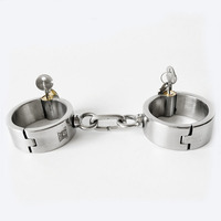 stainless steel metal hand cuffs sex games bdsm toys bondage restraints fetish wear with chain handcuffs for sex toy for couples
