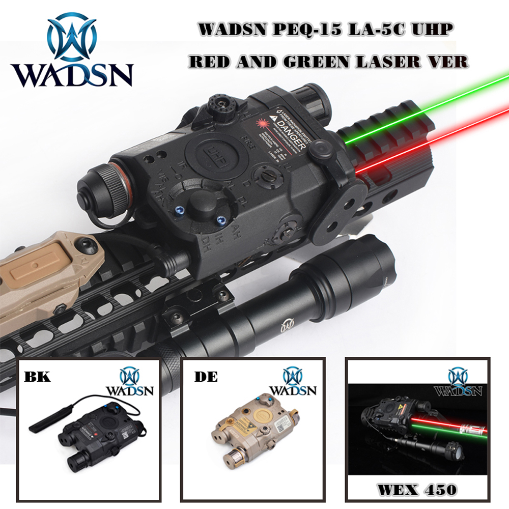 WADSN Airsoft PEQ15 LA 5C AN PEQ UHP Green and Red Double Laser Flashlight for Hunting