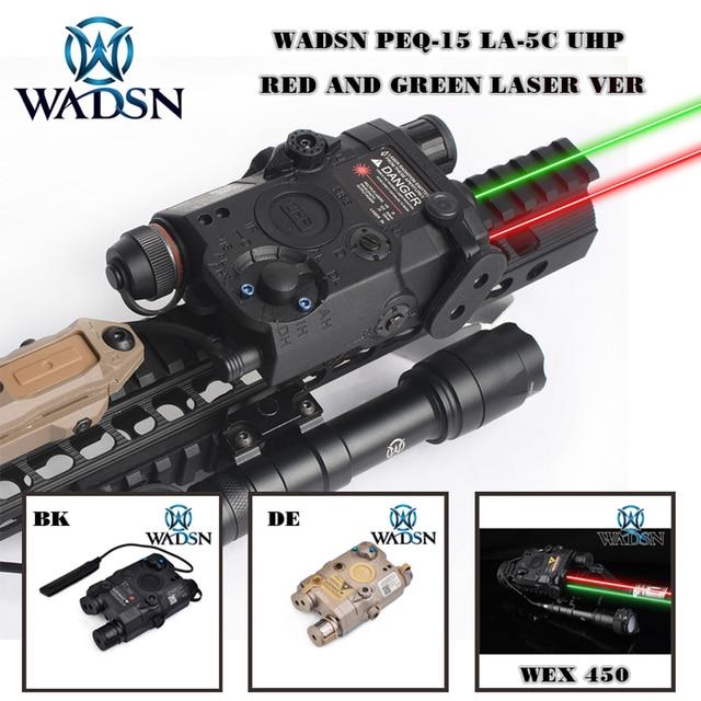 WADSN Airsoft PEQ15 LA 5C AN/PEQ UHP สีเขียวและสีแดงคู่เลเซอร์ไฟฉายสำหรับล่าสัตว์ Softair LA5 ZERO  หยุด WEX450 ไฟ
