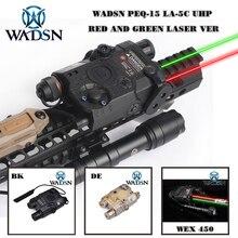 WADSN エアガン PEQ15 LA 5C AN/PEQ UHP 緑と赤のダブルレーザー懐中電灯狩猟 Softair LA5 ゼロ停止 WEX450 武器ライト