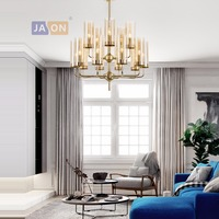 led e14 Postmoder Alloy Glass Blue Sandy Chandelier Lighting Lamparas De Techo Suspension Luminaire Lampen For Foyer Bedroom