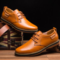 2016 New Spring Autumn Fashion Casual Men Shoes Lace-up Breathable Flat with Genuine Leather Shoes 39-44 Discount Free Shipping