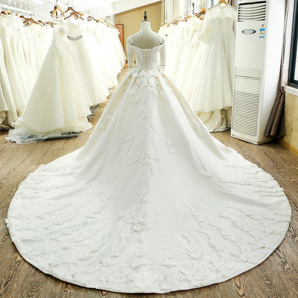 SL-128 Custom Made Satin Kortärmad Bollkledda Bröllopsklänning - Bröllopsklänningar - Foto 2
