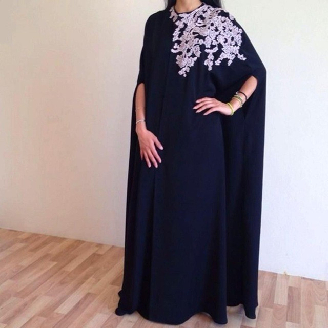 US $114 0 |Arabic Lace Accents Semi Formal Evening Dress with Cloak  Abendkleider Voluminous Prom Gown Cape Kaftan Dubai Formal Long Dress -in  Evening