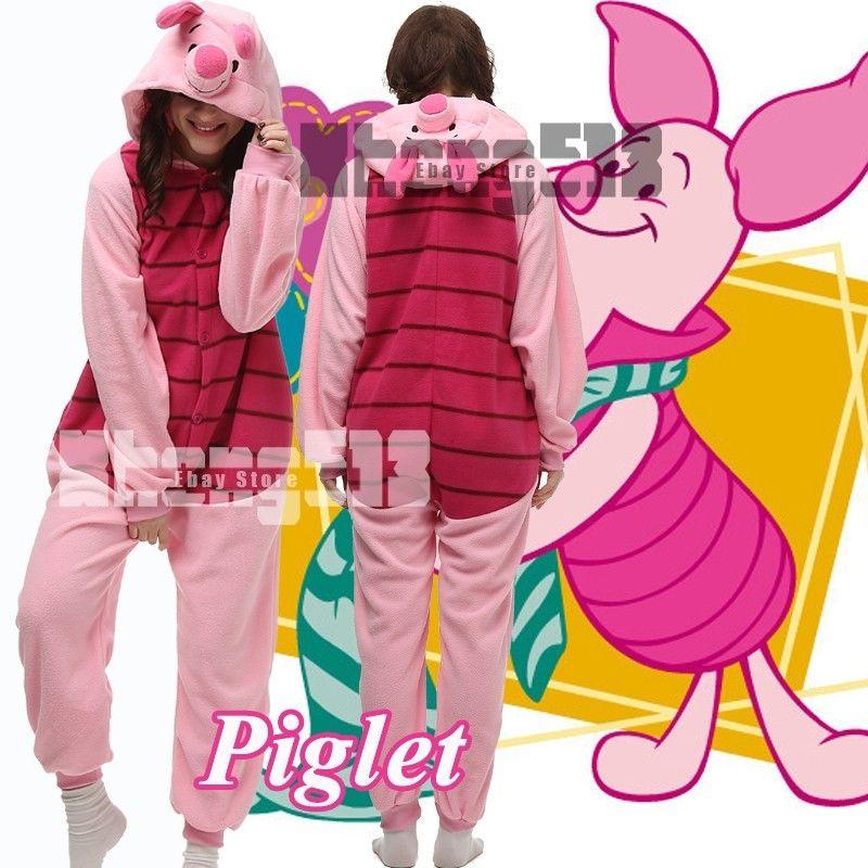 Cartoon Animal Cosplay Piglet Pig Onesies Pajamas Women Men Jumpsuit Hoodies Adults Cos Costume for Halloween