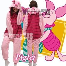 Cartoon Animal Cosplay Piglet Pig Onesies Pajamas Women Men Jumpsuit Hoodies Adults Cos Costume for Halloween and Carnival