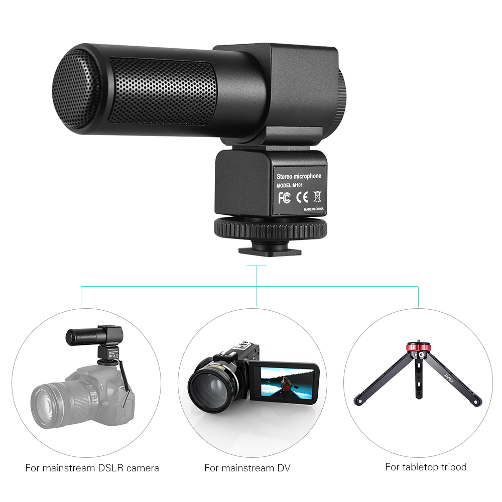 M101 Stereo Microphone Back Electret Condenser Microphone for Canon for Nikon for Sony DSLR Camera Video Recording InterviewM101 Stereo Microphone Back Electret Condenser Microphone for Canon for Nikon for Sony DSLR Camera Video Recording Interview