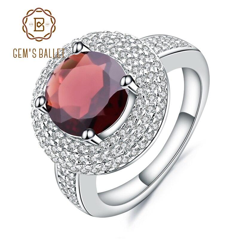Gem s Ballet 3 15Ct Natural Red Garnet Gemstone Ring 925 Sterling Silver Engagement Cocktail Rings