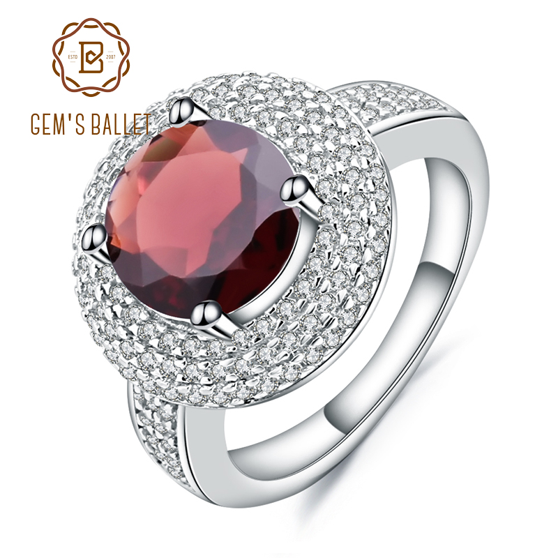 Gem's Ballet 3.15Ct Natural Red Garnet Gemstone Ring 925 Sterling Silver Engagement Cocktail Rings For Women Fine Jewelry